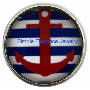 Blue-Red Anchor Snap 20mm for Snap Charm Jewelry (1074)