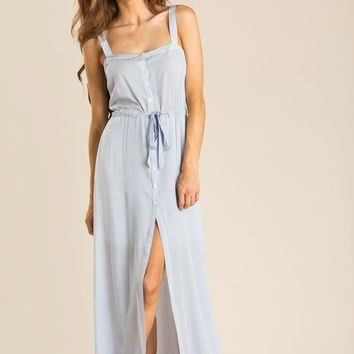 Tamatha Blue Stripe Button Maxi Dress