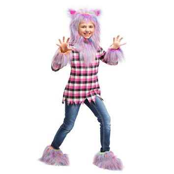 New Novelty Girls Fierce Festive Rainbow Colored Werewolf Combined Fairy Tale Creature And Monster Halloween Party Costume