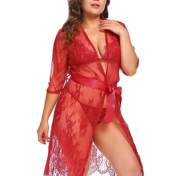 Vpicuo Plus Size Women's Lace Kimono Sexy Nightgown Transparent Mesh Lingerie Babydoll Sleepwear