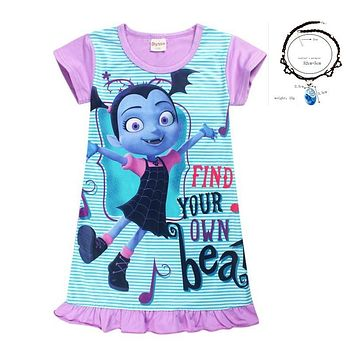 Summer Kid Clothes Princess Party Dresses Children Clothing New Years Nightgown Elsa Junior Vampirina Vamp Batwoman Girls Dress