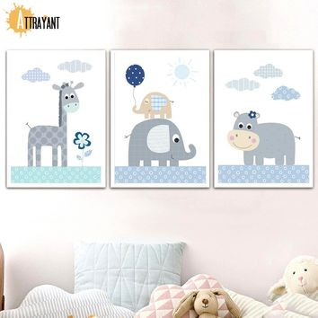 Giraffe Elephant Hippo Nordic Posters And Prints Wall Art Canvas Painting Animal Wall Pictures Kids Baby Girl Room Home Decor