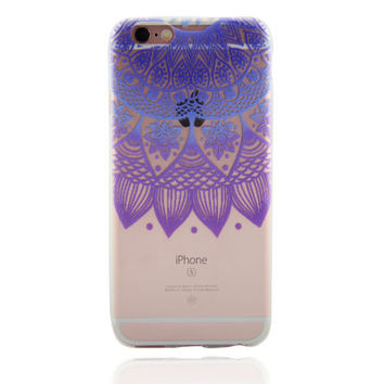 Womens Purple Lace Floral Case for iPhone 7 7Plus & iPhone se 5s 6 6 Plus Best Protection Cover +Gift Box-87