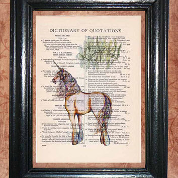 Mythical Creature Unicorn - Vintage Dictionary Book Page Art Unique Upcycled Page Art Wall Decor Kitsch Art Print