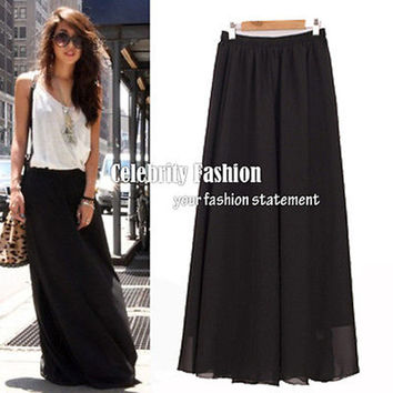 S66 Celebrity Style Women's Black White Pastel Flowy Volume Candy Coloured Pleated Maxi Long Skirt Plus Size Free
