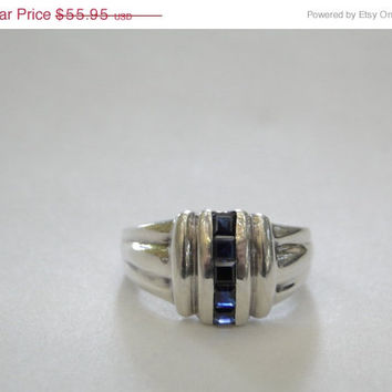 On SALE Sapphire Sterling Ring Art Deco Style Size 8 Channel Set Sapphire