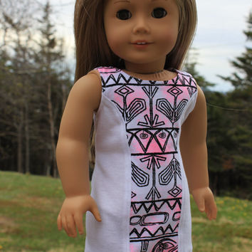 18 inch doll clothes, Ascot dress,white tribal print dress ,sleeveless dress, white fitted dress, american girl, Maplelea