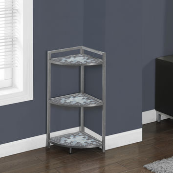 "Bookcase - 30""H - Grey - Blue Tile Top- Hammered Silver"