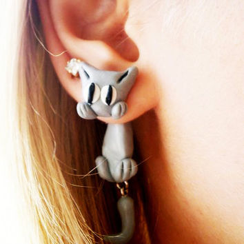 Pair of Real Custom Gauges Plugs 0g, 00g, 7/16, 1/2, 9/16, 5/8, 3/4, 7/8, 1 inch earrings  grey gray cat, Polymerclay, handmade