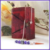 Aquarius Amethyst Moon & Stars Pendulum & Journal Set