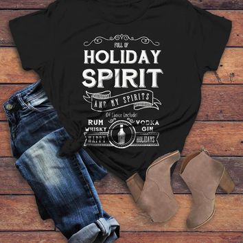 Women's Funny Holiday Spirit T Shirt Drinking Vodka Hilarious Christmas Shirt Gin Rum Vintage Tee