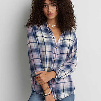 AEO Ahh-mazingly Soft Boyfriend Plaid Shirt , Blue