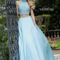 Sherri Hill Keyhole Back Two-Piece High Neck Ballgown Silhouette