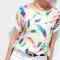 2015 Women Girls Fashion Cute Feather Printing Chiffon Shirt Sexy Tops Loose Blouses Summer Casual Vest Various Size Drop Shipping