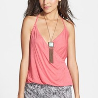 Lily White Faux Wrap Knit Tank (Juniors) (Online Only)