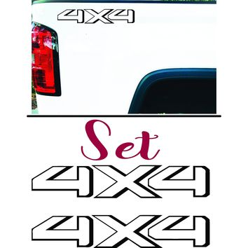 4 x 4 Off Road Toyota Style Bedside Vinyl Graphic Decals Aftermarket, SET OF 2 - Style 019