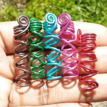 Wire wrapped, Spiral, Crisscrossed Dreadlock jewelry, hair accessories, ethnic jewelry......Choose a color and size