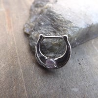 "Amethyst Nose Ring Septum Piercing Rings 14g 5/16"" Gemstone Clickers Gem Stone Hinged Clicker Helix Daith Piercings Stainless Steel Body Jewelry 