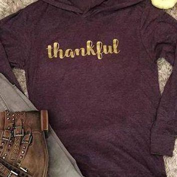 Purple Monogram Thankful Long Sleeve Hooded Casual Pullover Sweatshirt