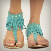 RESTOCK! Indian Summer Teal Blue Mint Fringe Ankle Sandals Suede