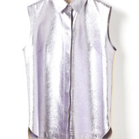 Metallic Foilback Leather Collared Sleeveless Leather Top by 3.1 Phillip Lim for Preorder on Moda Operandi