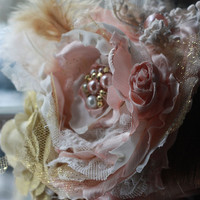 FANCY HEADBAND, pink, gold, champagne, flowergirl, wedding, birthday, baby girl, toddler, big girl, bow, over the top, boutique, couture