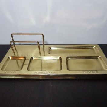 Vintage Men's Brass Dresser Valet/Desk Organizer with Padded Bottom by Price Products - Mid Century Modern