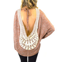 Sun Child Taupe Open Back Crochet Top