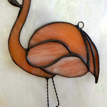 Stained Glass Peach Flamingo Suncatcher, Ornament, Beautiful, Custom Handmade, Decorative Art