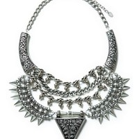 DaisyGem | Silver Studded Spike Beaded Tribal Aztec Print Pendant Statement Bib Necklace