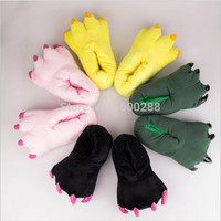 Free Shipping 2014 Funny Animal Paw Slippers Cute Monster Claw Slippers Cartoon Slipper Warm Soft Plush Winter Indoor Shoes