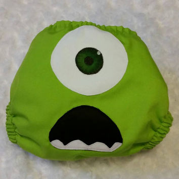 Monsters Inc, Mike Wazowski Cloth Diaper Cover or Pocket Diaper - One-Size or Newborn, S, M, L