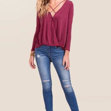 Aubrielle surplus x neck top