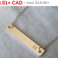 Initial necklace,Bridesmaid Gift, Personalized Hand Stamped gold Bar,Graduation gift, gift, Monogram Necklace,