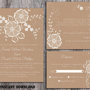 DIY Lace Wedding Invitation Template Set Editable Word File Download Printable Rustic Wedding Invitation Burlap Vintage Floral Invitation