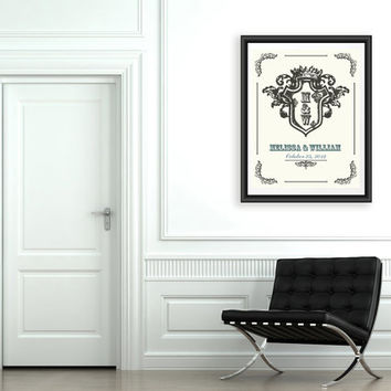 Personalized wedding gift, Anniversary Gift Ideas, Family coat print, Custom wall art, Family blazon art