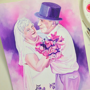 GRANDPARENTS SPECIAL GIFT for wedding anniversary - Watercolor custom portrait