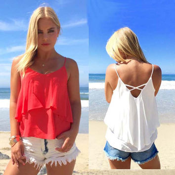 Flounced Double Layer Backless Top
