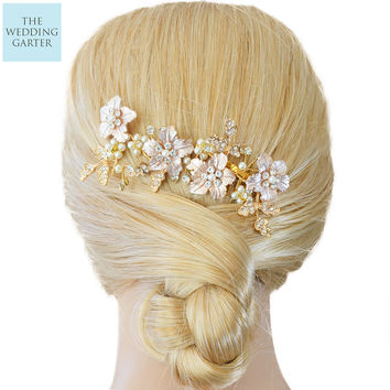Exquisite Gold Rhinestone & Pearl Luxury Wedding Hair Comb