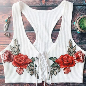 New summer sexy Women flowers vest embroidery waistcoat-0626