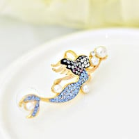 Mermaid & Bubble Pearls Blue Sparkle Ear Cuff  Earring
