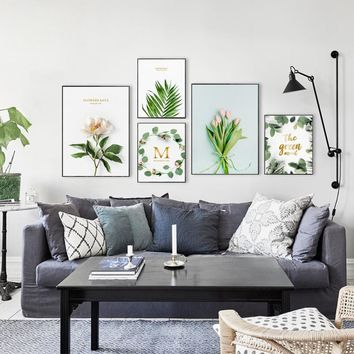 Modern Home Decor Flowers Green Plant Quote Phrase Canvas Painting Posters And Prints Living Room Wall Art Pictures Home Murals
