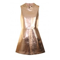 Lavish Alice | LA LUXE Rose Gold Faux Leather PU Cropped Dress | Spoiled Brat