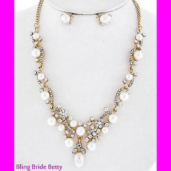 Stunning Vine Bridal Wedding Cream Pearl Necklace Earring Set Gold Tone Bling