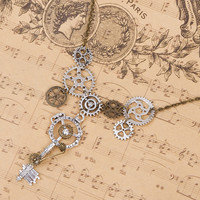 Key and Gears Steampunk Statement Necklace