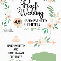 Watercolour Wedding Peach White Clipart - 48 Hand Painted & Drawn Scrolls Banners INSTANT DOWNLOAD Flower Elements Succulents PNGs Digital