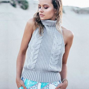 Light Grey Sleeveless Turtleneck Backless Halter Cable Knit Pullover Sweater