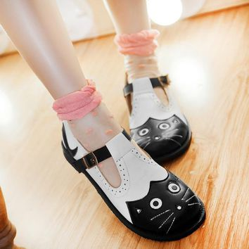 US4-11 Womens Lolita Mary Janes Cat Flats Casual Cut Out Sweet Girl's Round Toe Ankle Strap Shoes Japanese Plus Size Big