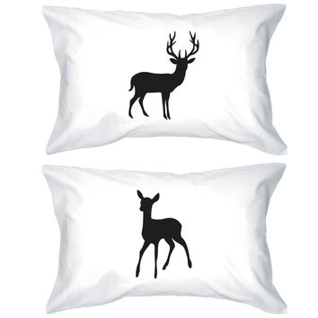 Buck and Doe Couple Pillowcases Deer Pillow Covers Gifts for Loved One