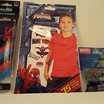 Marvel Superhero Gift Pack- 75 Ultimate Spiderman Temporary Tattoos, Ultimate Spiderman (40 pack) Kid's Fruit Punch Flossers and Marvel Universe Character Bandz (20 pack)